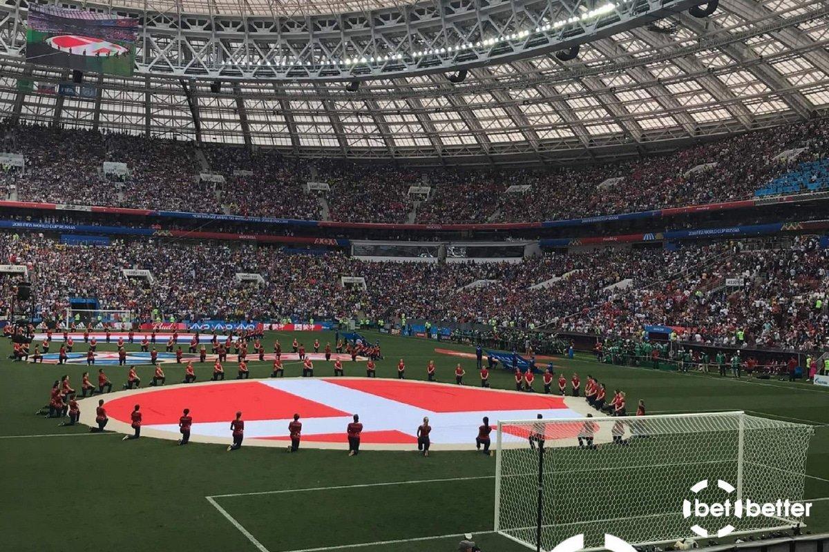 Det danske flag på russisk stadion