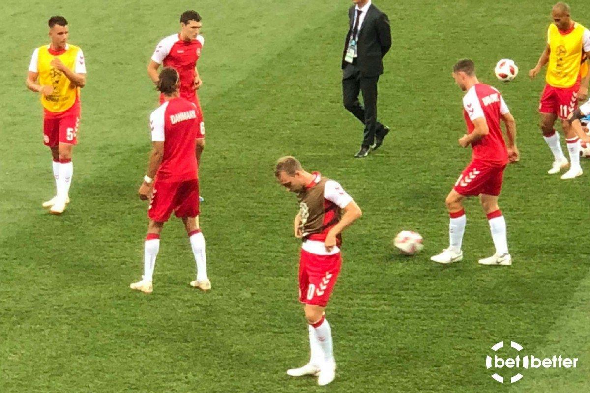 Det danske hold træner